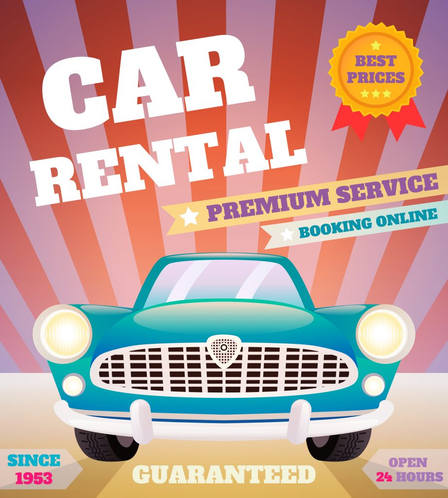 Car rental retro poster
