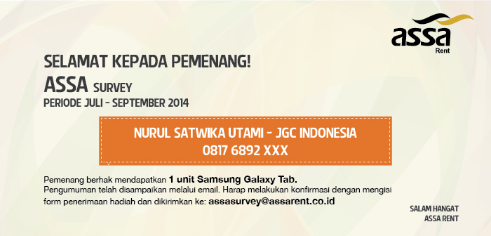 Pengumuman Pemenang ASSA Survey Juli – September 2014